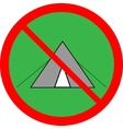 No tent sign in red ring on green circle vector image