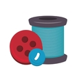 spool of thread and buttons vector image