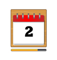 The second day in the calendar vector image