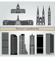 Denver landmarks and monuments vector image