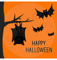 Happy Halloween card Cute sleeping bat hanging on vector image