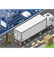 Isometric Frigo Truck in Rear View vector image