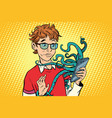 teen and octopus in the smartphone danger online vector image