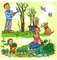 Happy family in garden vector image