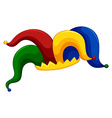 Jester hat on white background vector image