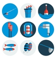 Fishing flat icons vector image