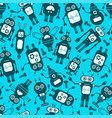 cartoon robots seamless background vector image