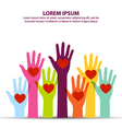Many Colorful Hand Up With Heart At Middle Of Palm vector image