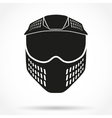 Silhouette symbol of paintball mask with goggles vector image