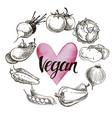 vegan food concept hand drawn vector image