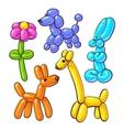 Set of balloon animals - dog poodle giraffe vector image