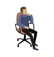 Man Sitting on Chair and Dreaming About Something vector image
