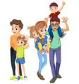Family members with happy faces vector image vector image