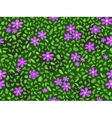 violet flower and green leaf at seamless pattern vector image