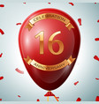 red balloon with golden inscription sixteen years vector image