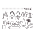 Line wedding icons vector image