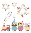 Birthday toy train with owl and sweets vector image