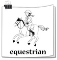 Doodle of girl doing equestrian vector image
