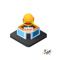 Isometric burger cafe icon building city vector image