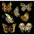 set gold butterflies vector image
