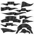 set of black ribbons flag collection vector image