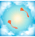 Sky nature design white clouds sun flying kites vector image