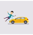 Traffic accident the vehicle knocked the man flat vector image