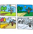 four seasons cartoon vector image