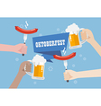 Oktoberfest with a glass of beer and sausage vector image