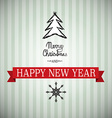 Merry Christmas and Happy New Year Xmas Card Tree vector image