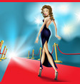 beautiful elegant woman on the red carpet vector image