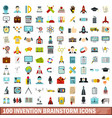 100 invention brainstorm icons set flat style vector image