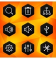 Settings Hexagonal icons set on abstract orange vector image