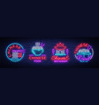 chinese food set of logos collection neon sign vector image