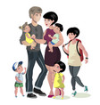 happy caucasian family with many children vector image