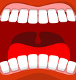 Open mouth Red lips and white teeth tongue and vector image