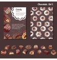 Template with different kinds of chocolate candies vector image