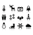Christmas winter black icons set vector image