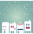 Christmas city on snowing background vector image vector image