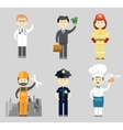 Professional men character icon set vector image