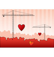 black silhouettes of cranes with red heart vector image vector image