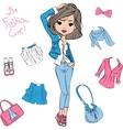 beautiful fashion girl top models vector image