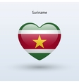 Love Suriname symbol Heart flag icon vector image