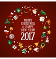 Merry Christmas and Happy New Year flat design vector image