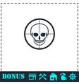 Sniper skull icon flat vector image