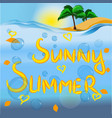text sunny summer sea in the background vector image