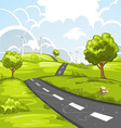 Spring landscape with road vector image vector image