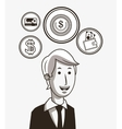 economy related icons line design image vector image