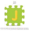 June 2017 puzzle calendar vector image
