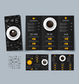 design of a triple black menu for cafes and vector image